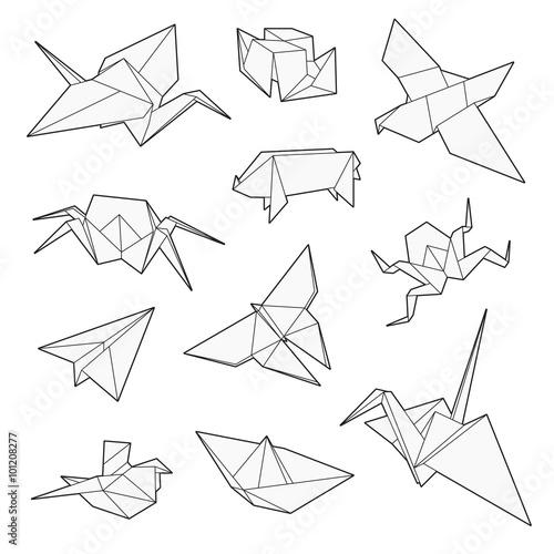 Origami vector set, Crane, bird, boat, paper plane Poster