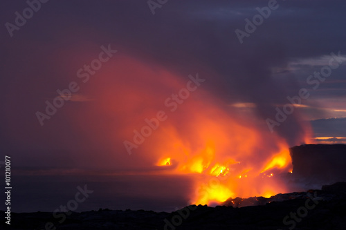 Poster Volcano Lava flowing into the ocean