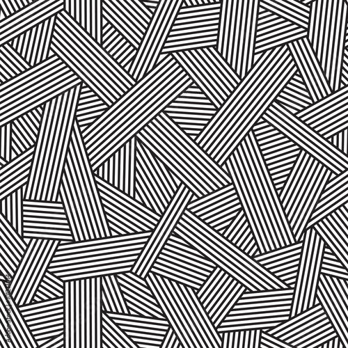 fototapeta na drzwi i meble Black and white seamless pattern, geometric background with interweaving lines, vector illustration