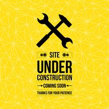 Under Construction Sign, Vector Illustration, Yellow Seamless Pattern