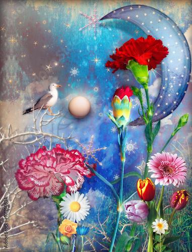gwiazdzisty-ksiezyc-z-realistycznymi-kwiatami-na-kolorowym-tle
