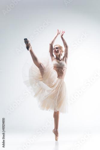 The silhouette of ballerina on white background Fototapeta