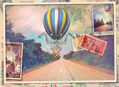 Poster Imagination Vintage postcard with avenue,hot air balloon and old stamps