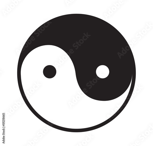 Photo  Ying and yang vector icon.