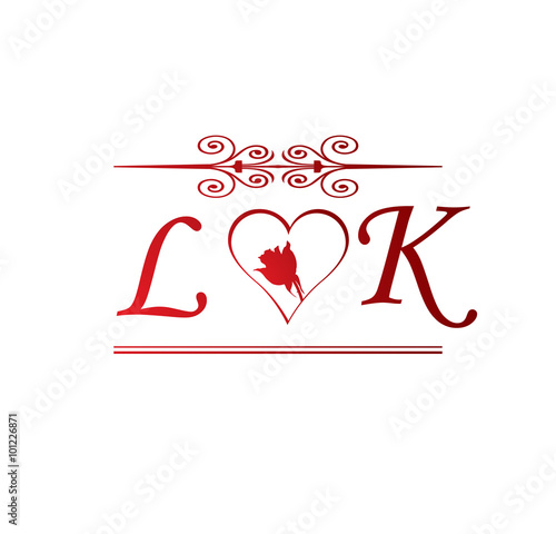 Lk Love Initial With Red Heart And Rose Buy This Stock Vector