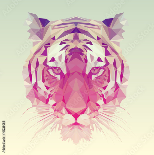 Canvas Print Polygonal Tiger Graphic Design.