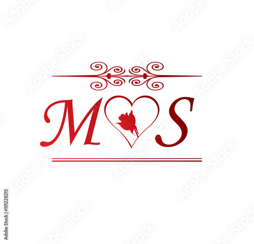 Ms Love Initial With Red Heart And Rose Buy This Stock Vector
