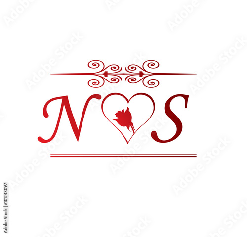 Ns Love Initial With Red Heart And Rose Buy This Stock Vector And Explore Similar Vectors At Adobe Stock Adobe Stock
