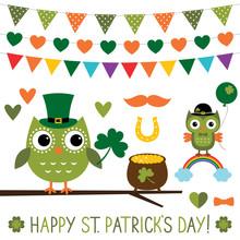 St. Patrick's Day Owls Set