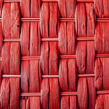 Imaginative Red Woven Reed / Wood Abstract Background Texture.