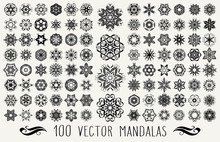 Set Of Ornate Lacy Doodle Floral Round Rosettes In Black Over White Backgrounds. Mandalas Formed With Hand Drawn Calligraphic Elements.