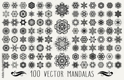 Set of ornate lacy doodle floral round rosettes in black over white backgrounds Wallpaper Mural