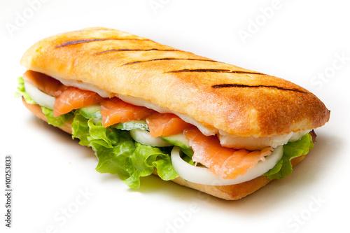 Staande foto Snack Salmon pannini sandwich