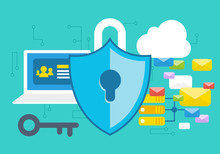 Secure Internet Concept With Emails, Personal Data And Servers
