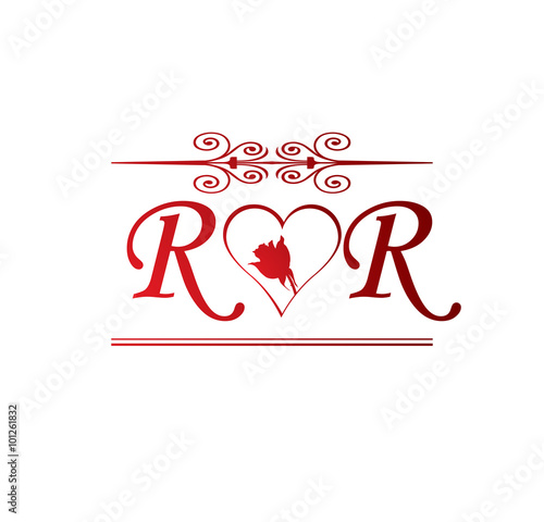 Rr Love Initial With Red Heart And Rose Buy This Stock Vector