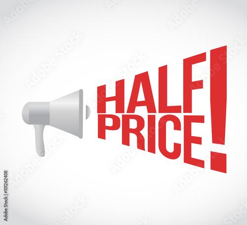 Fotografia half price message concept sign