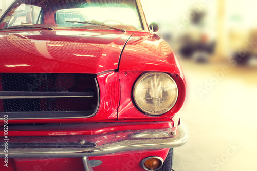 Spoed Foto op Canvas Vintage cars Close Up of Front of a Red Vintage Car