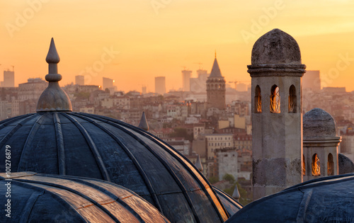 Beyoglu and Galata tower at sunrise, Istanbul, Turkey Canvas Print