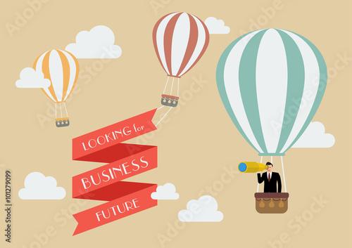 Obraz na płótnie Businessman looking for business in a hot air balloon