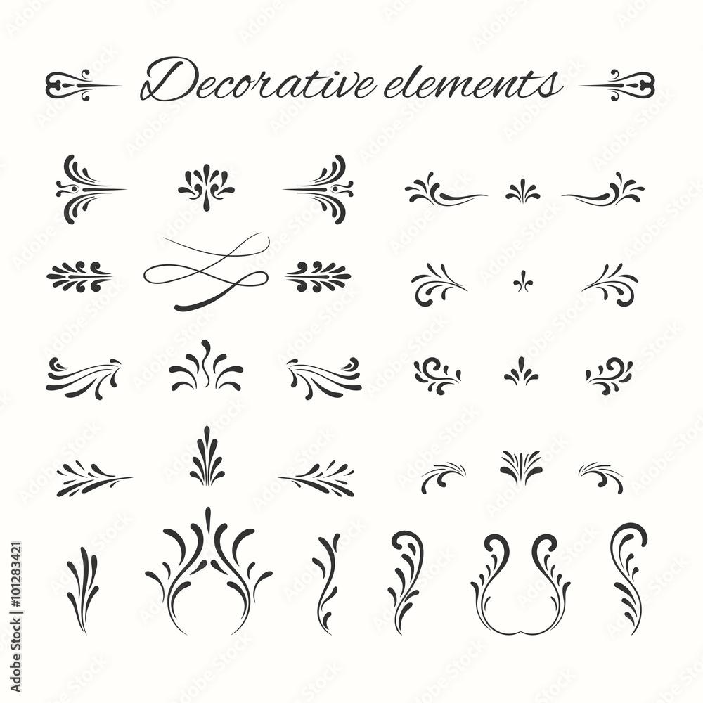 Fototapety, obrazy: Hand drawn divders set. Ornamental decorative elements.