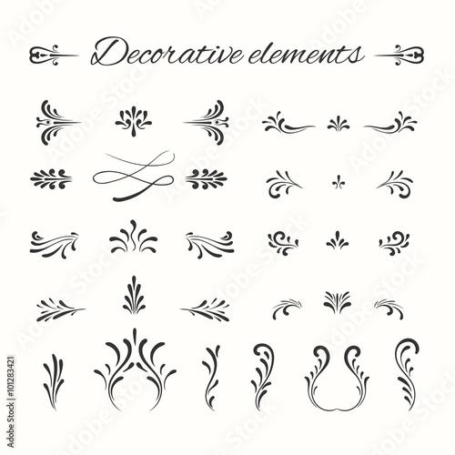 Hand drawn divders set. Ornamental decorative elements. Wall mural
