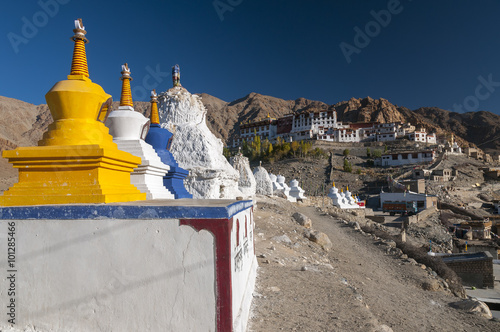 Poster Monument Stupas in front of budhist temple Phyang, Ladakh, India