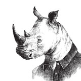 Hand drawn dressed up rhino in hipster style - 101289827