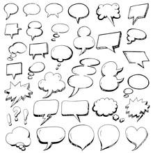 Hand Drawn Speech Bubbles In ...