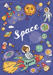 FototapetaSpace banner with planets, rockets, astronaut and stars. Childish background. Hand drawn vector illustration.