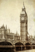 Vintage View Of Big Ben, London