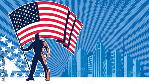 Flag Bearer USA Background / Flag bearer holding the flag of USA over grunge background with copy space Wallpaper Mural