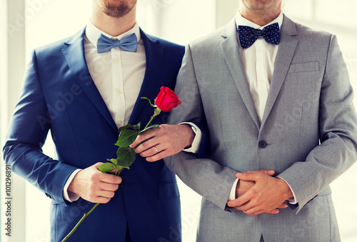close up of happy male gay couple holding hands Canvas Print