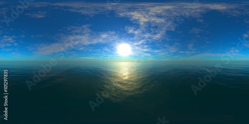 HDRI High resolution map  the sun in the clouds over the sea