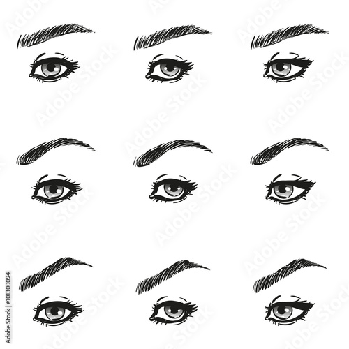 icons set female eye with long eyelashes and eyebrows different