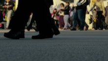 Closeup Of Busy People Walking Slowly