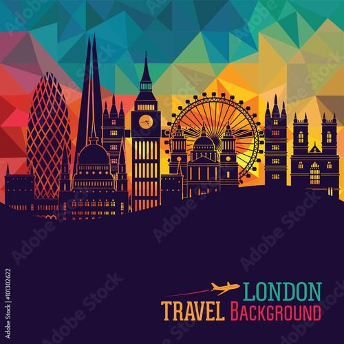 London (England) city skyline vector background Canvas Print