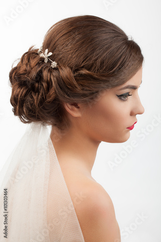 Recess Fitting Hair Salon bride with wedding hairstyle and veil on a white background