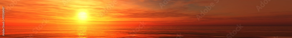 Fototapety, obrazy: panoramic ocean sunset view of sunrise over the sea, the light in the clouds over the sea.