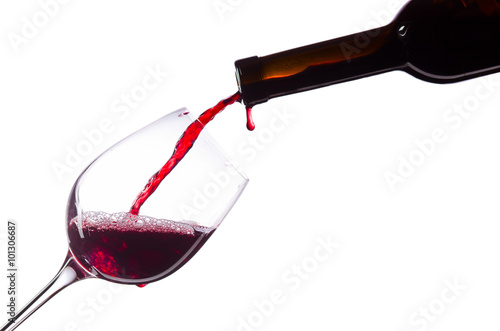 Red wine on white background Canvas Print