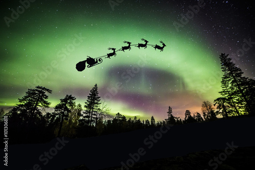 Photo A beautiful green and red aurora dancing