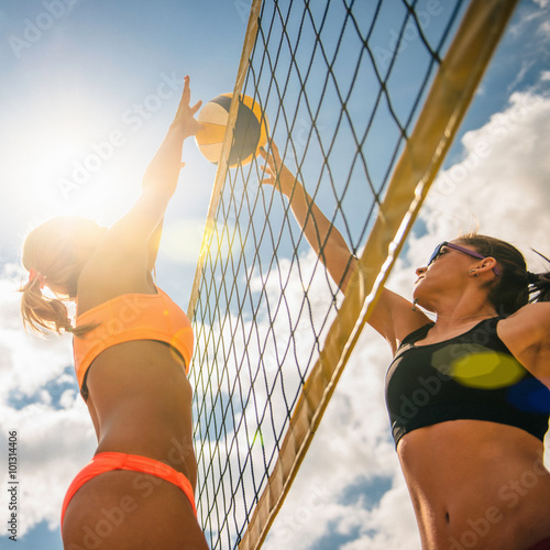 Sunny beach volleyball game Poster