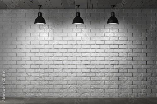 Poster Baksteen muur Grunge Brick Wall and Ceiling Lamps