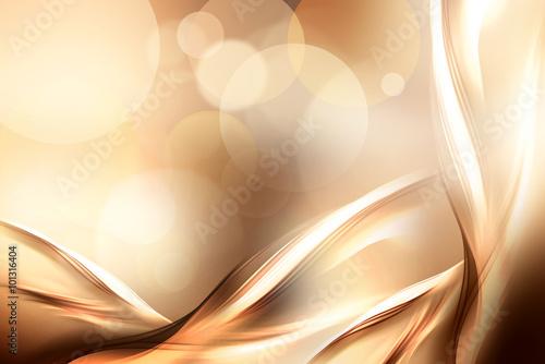 Fotobehang Fractal waves Abstract beautiful motion gold fractal background.Modern bright digital illustration.
