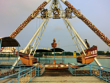 Amusement Park Pirate Ship Ride Abandoned And Decaying - Landscape Photo