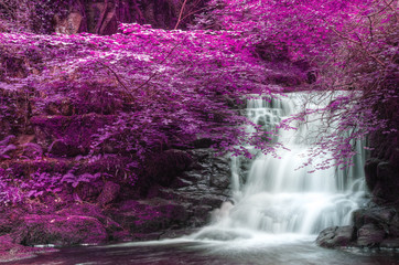 FototapetaBeautiful alternate colored surreal waterfall landscape