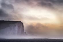 Beautiful Dramatic Foggy Winter Sunrise Seven Sisters Cliffs Lan