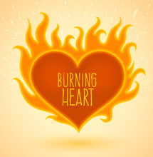 Symbol Of Burning Heart With Fire Flames