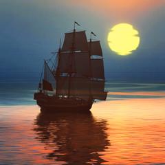 FototapetaSailboat against a beautiful landscape