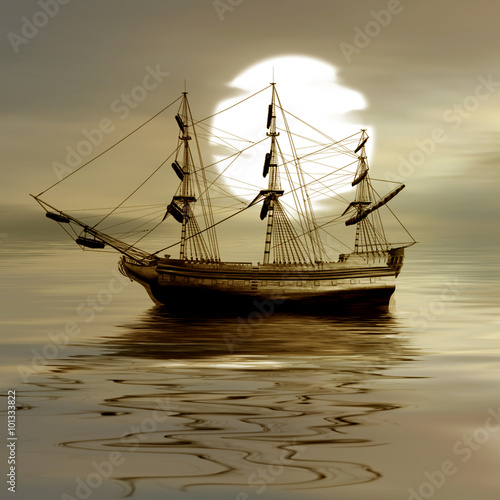 Poster Naufrage Sailboat against a beautiful landscape