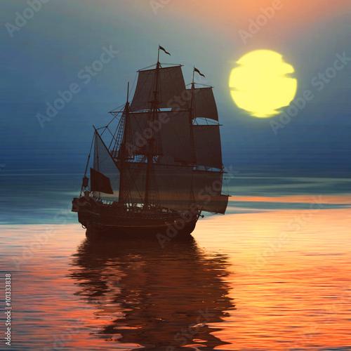Sailboat against a beautiful landscape © F@natka